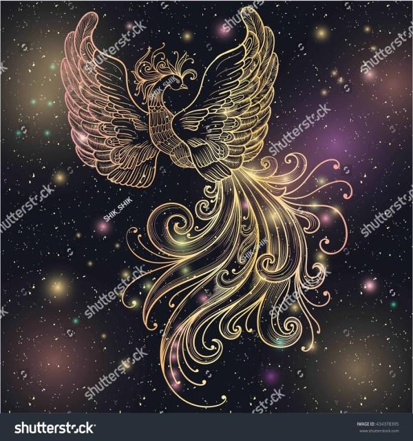 Magic Space Firebird Stars Vector Clipart Stock