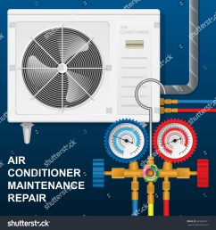 maintenance repair air conditioner compressor unit with manifold gauge [ 1500 x 1600 Pixel ]