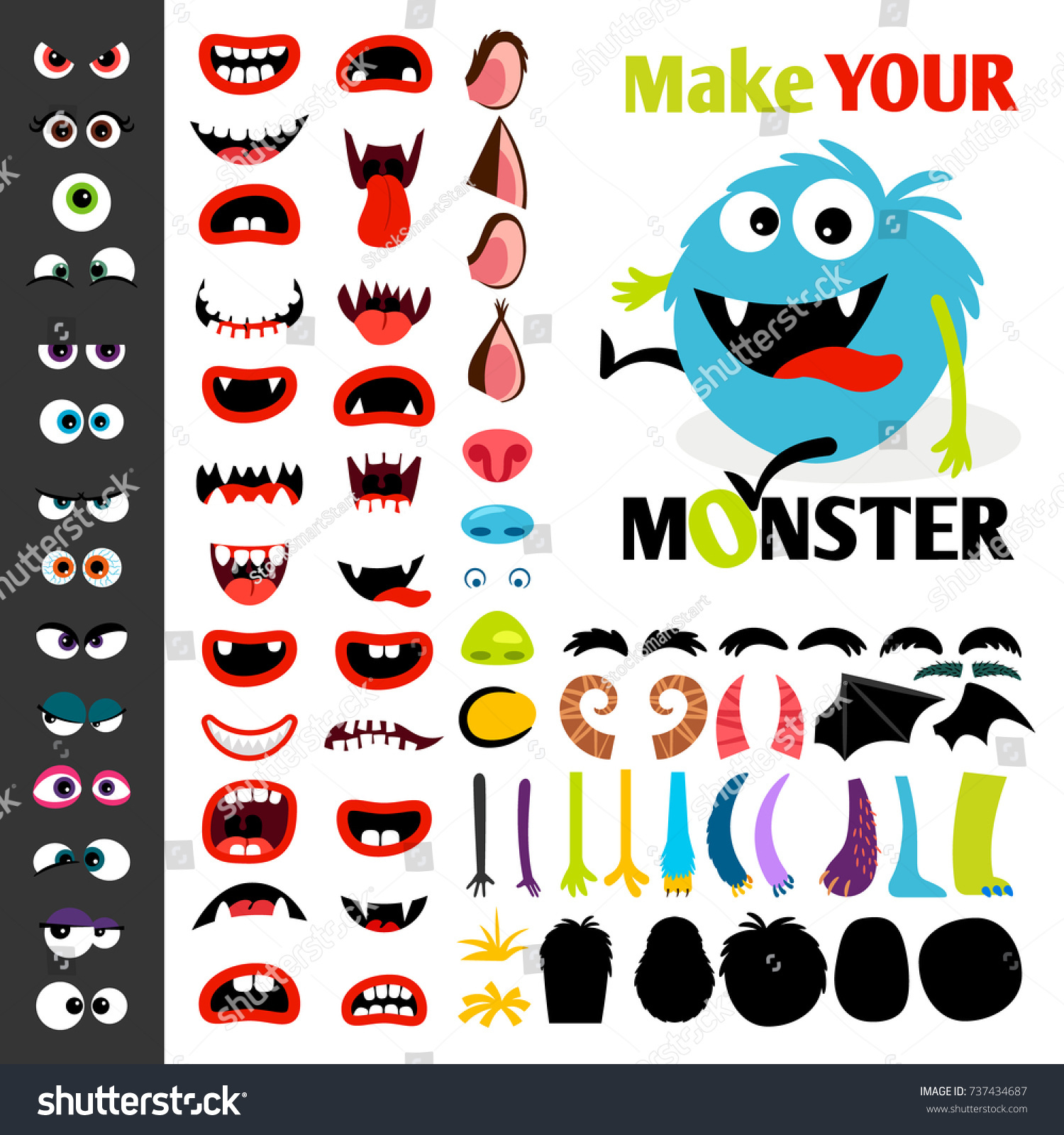 Make Monster Icons Set Alient Eyes Stock Vector