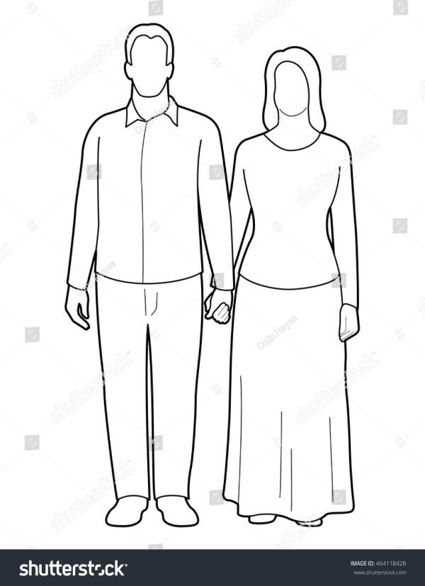 Man Woman Standing Holding Hands Line Stock Vector 464118428 - Shutterstock