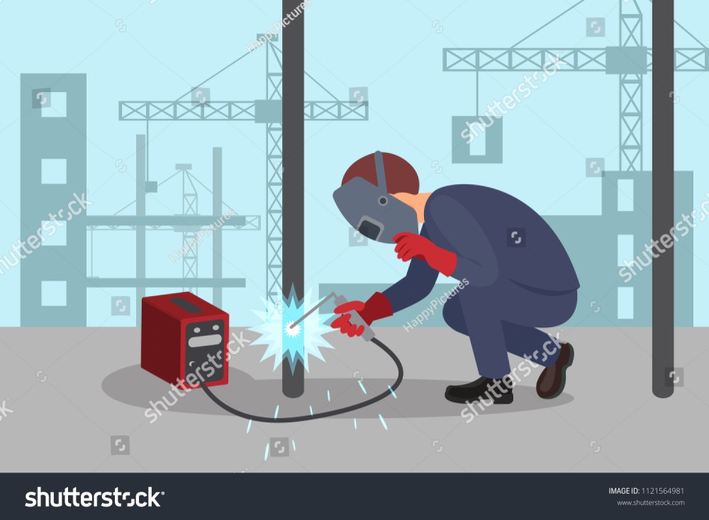 medium resolution of man welds steel construction by welding machine professional welder at work lifting cranes and