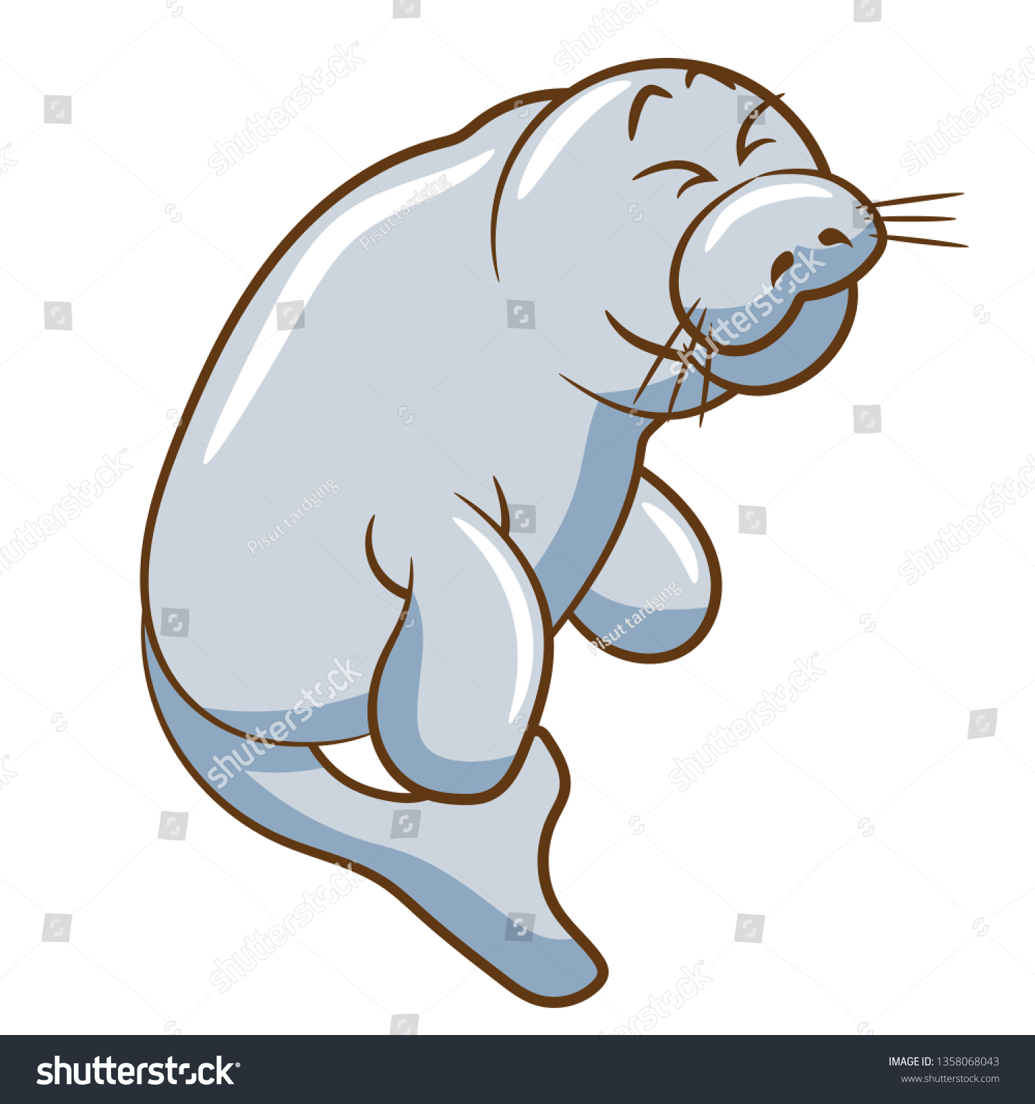 hight resolution of manatee vector clipart