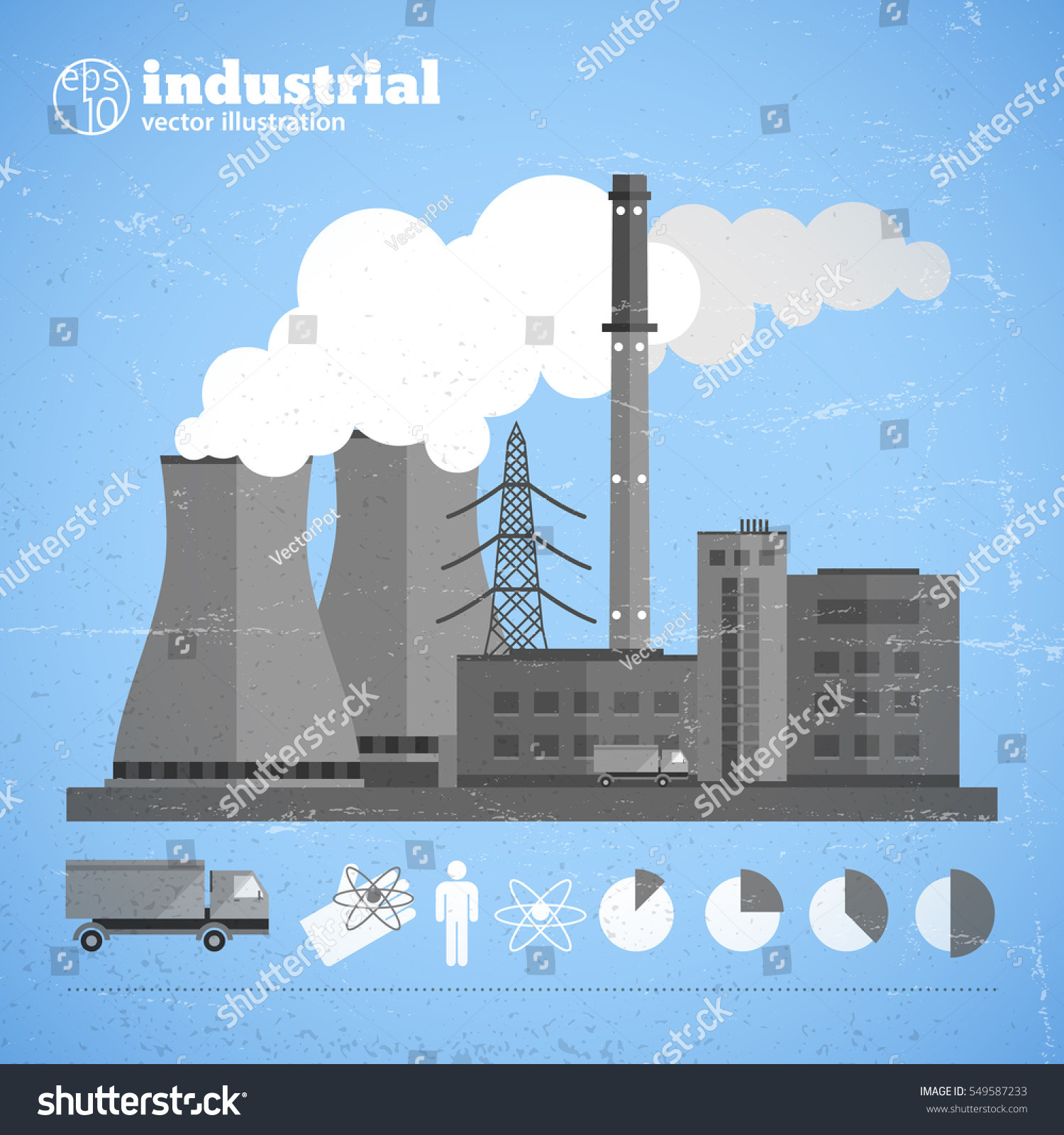 hight resolution of manufacturing plant background with building chimney harmful emissions and truck people environmental diagrams icons isolated vector