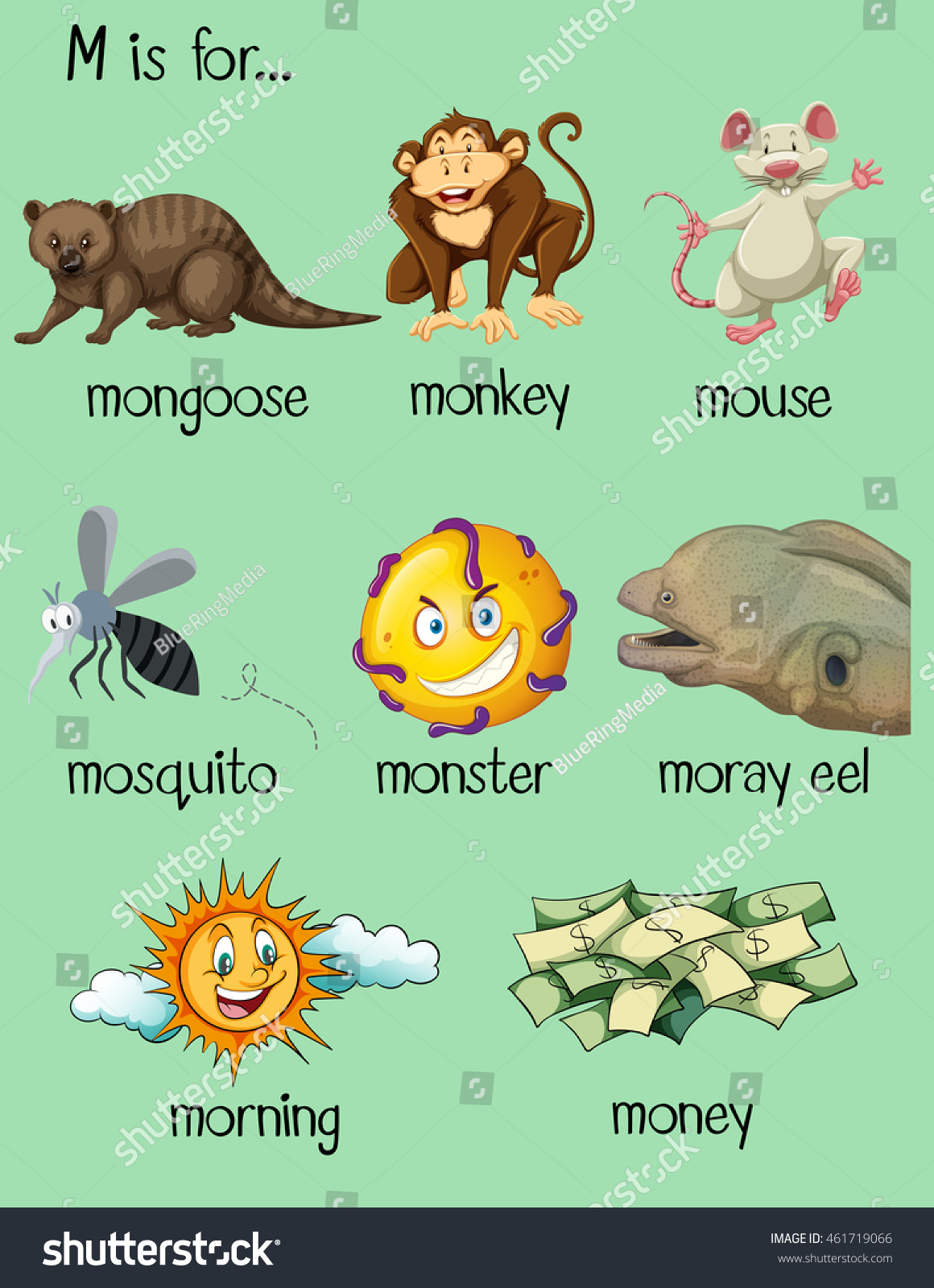 Many Words Begin Letter M Illustration Stock Vector