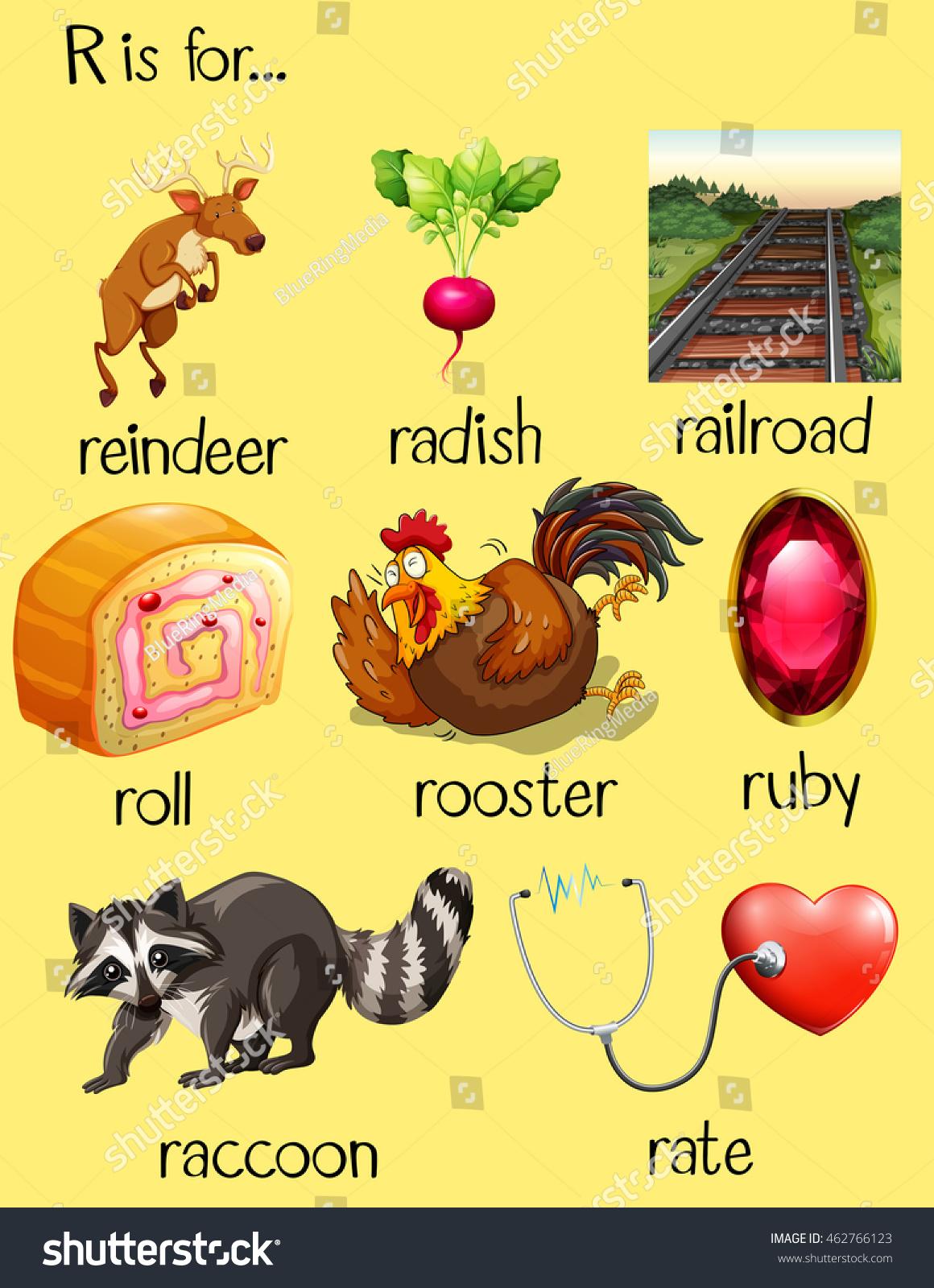 Many Words Begin Letter R Illustration Stock Vector