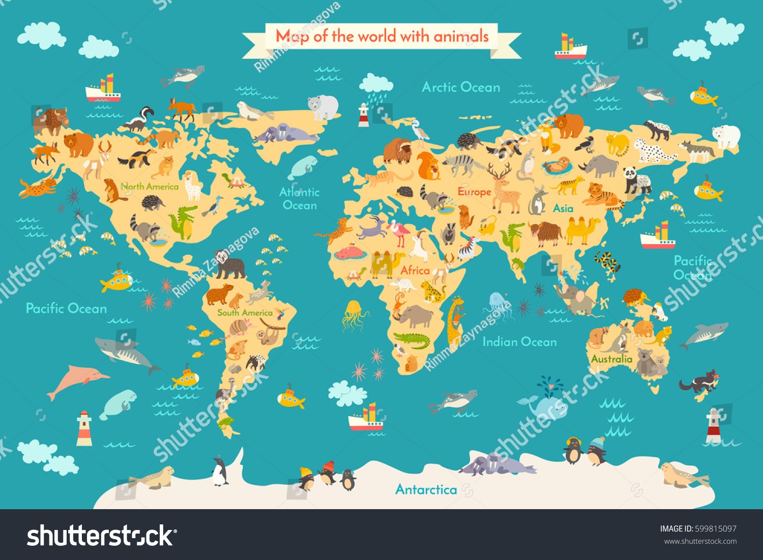 Map Animal Kid Continent World Animated Stock Vector