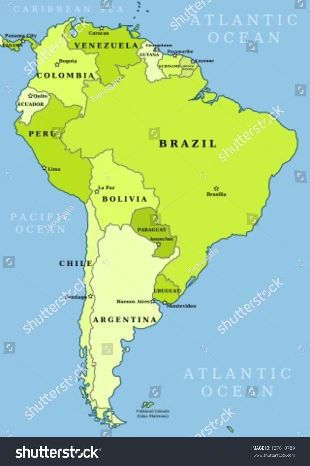 Map South America Political Division Countries Stock