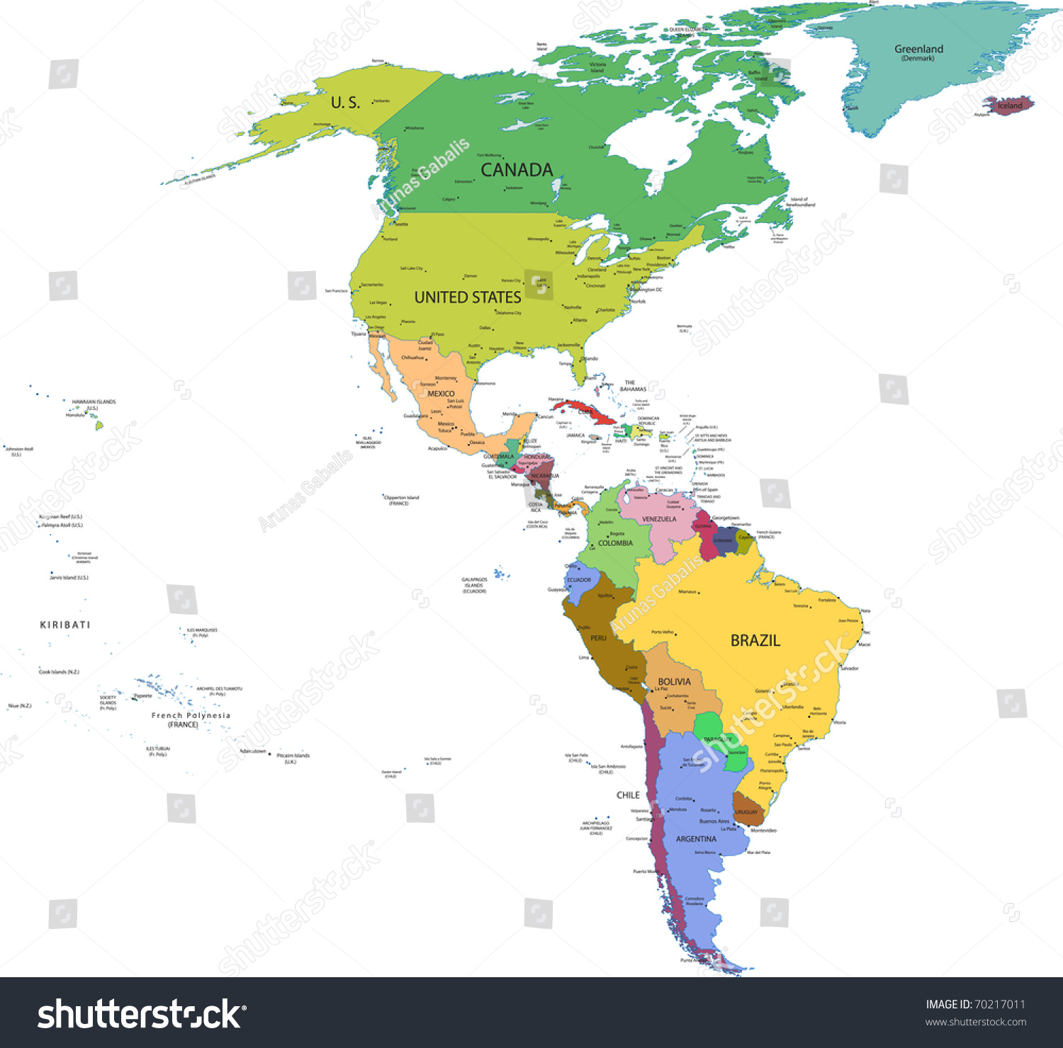 Map South North America Countries Capitals Stock Vector