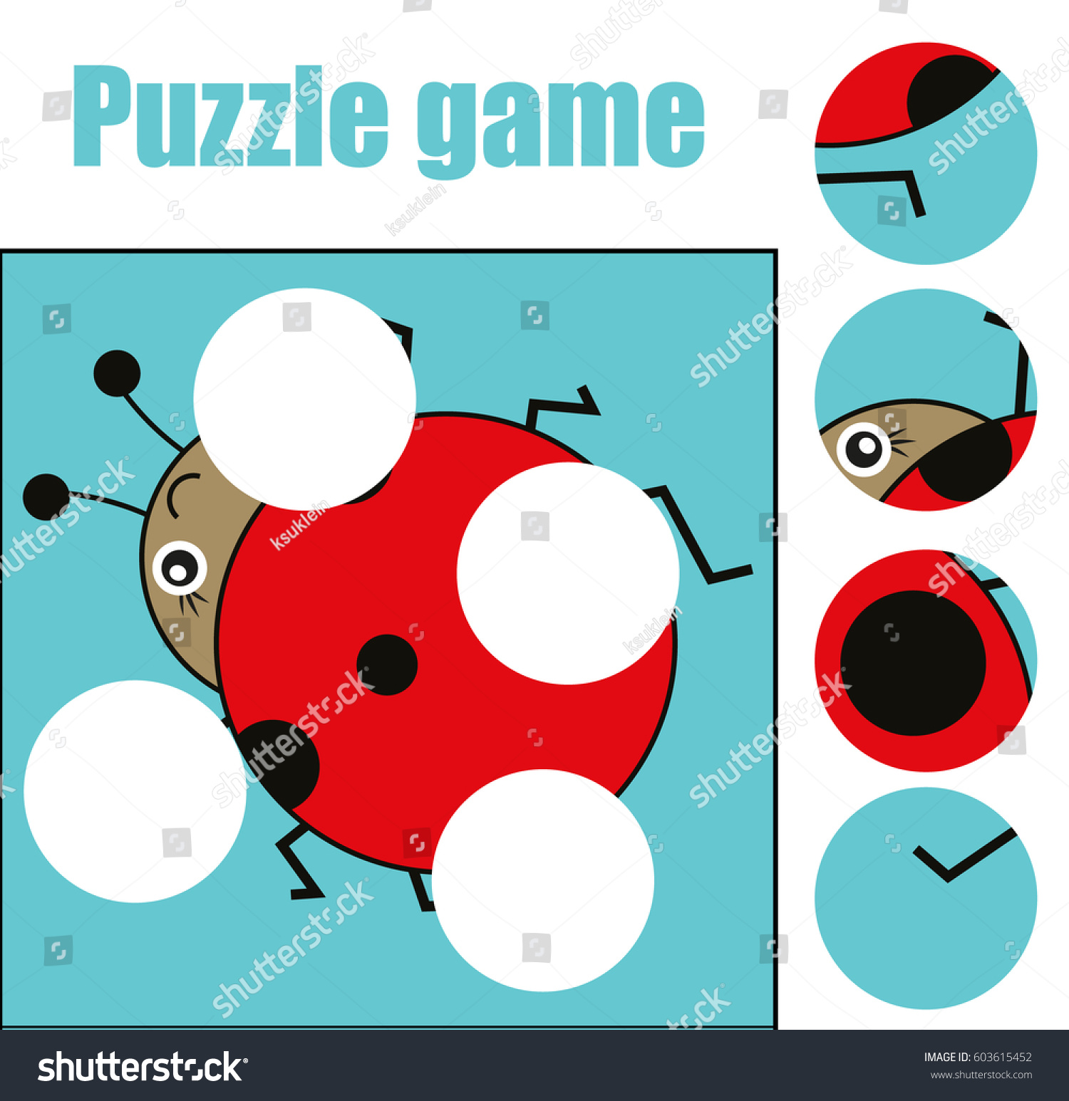 Matching Children Educational Game Match Pieces Stock
