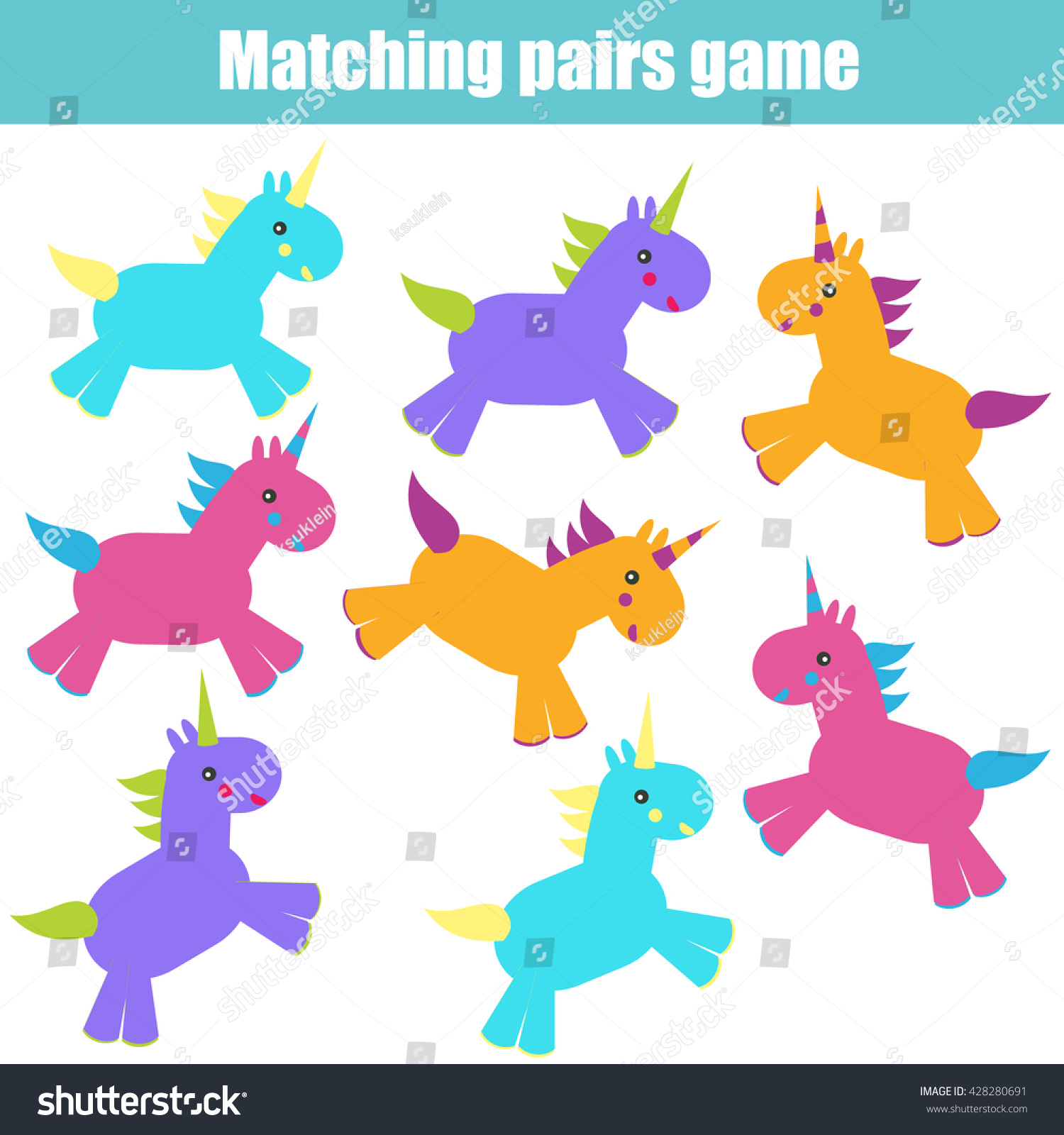 Matching Pairs Game Kids Find Right Stock Vector