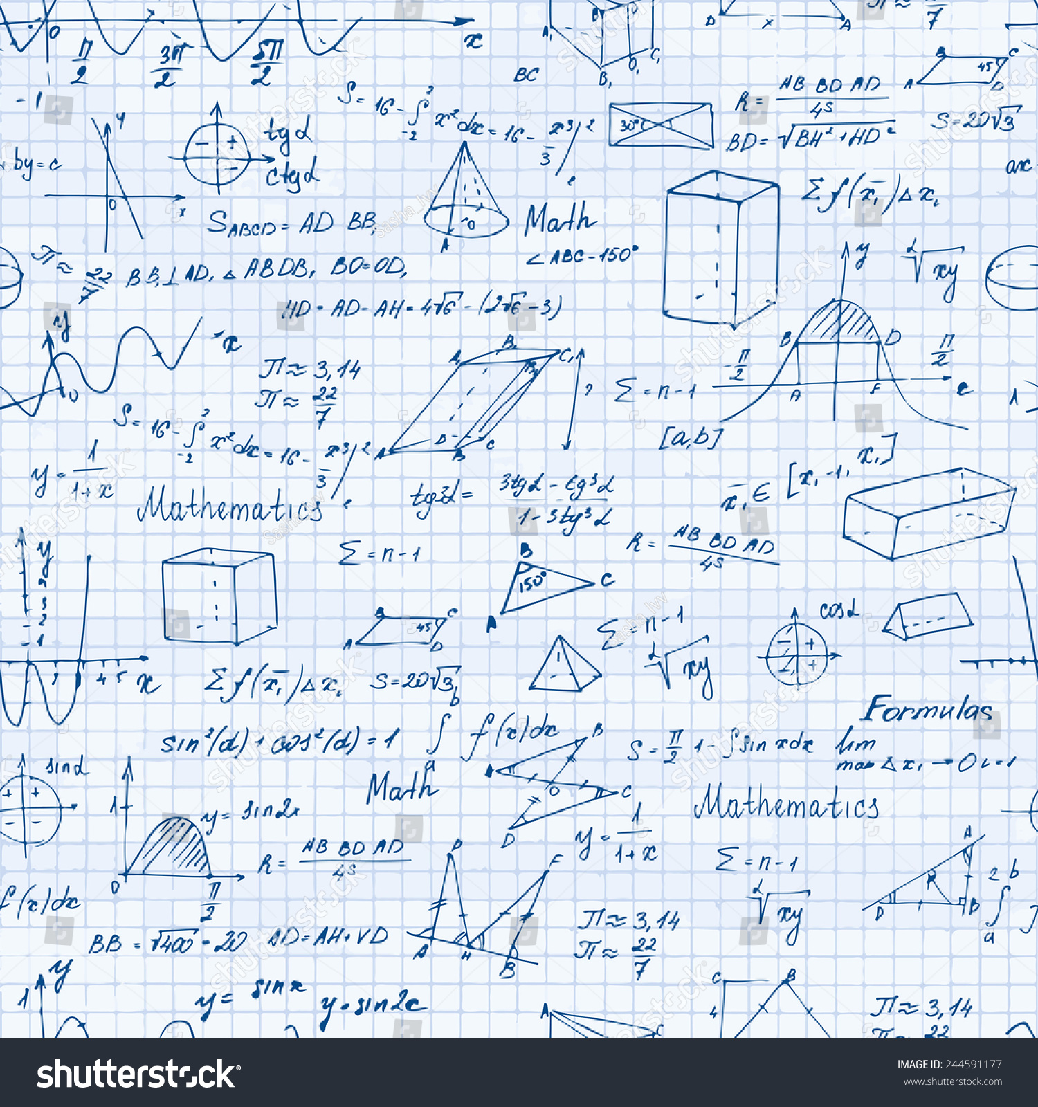 Math Seamless Pattern Trigonometry Formulas Vector Stock