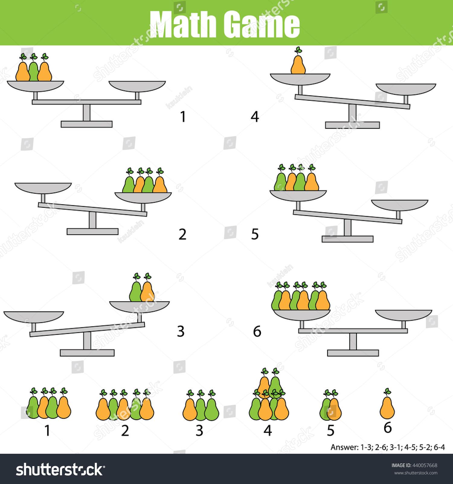 Mathematics Educational Game Children Balance Scale Stock