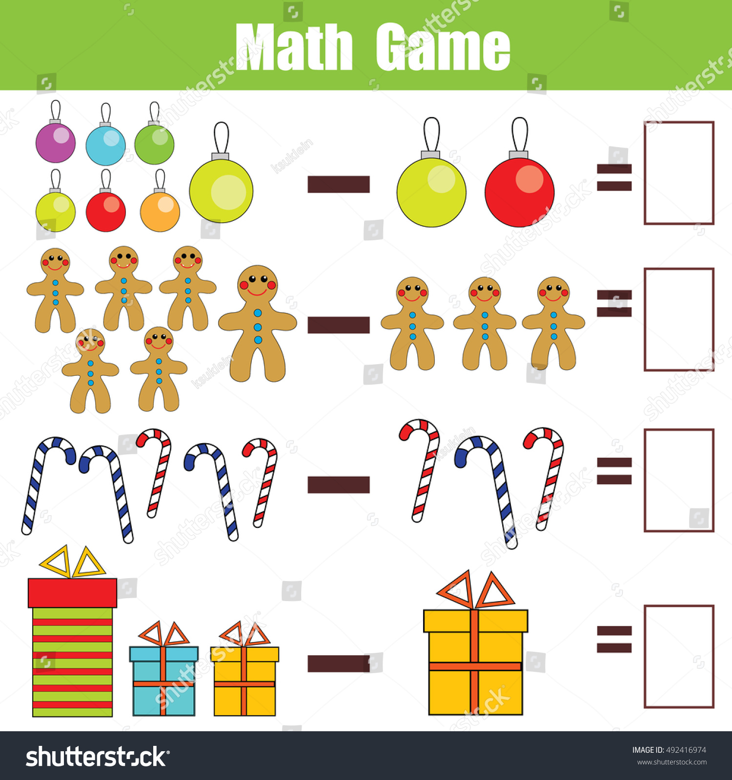 Mathematics Educational Game Children Learning Subtraction Stock Vector
