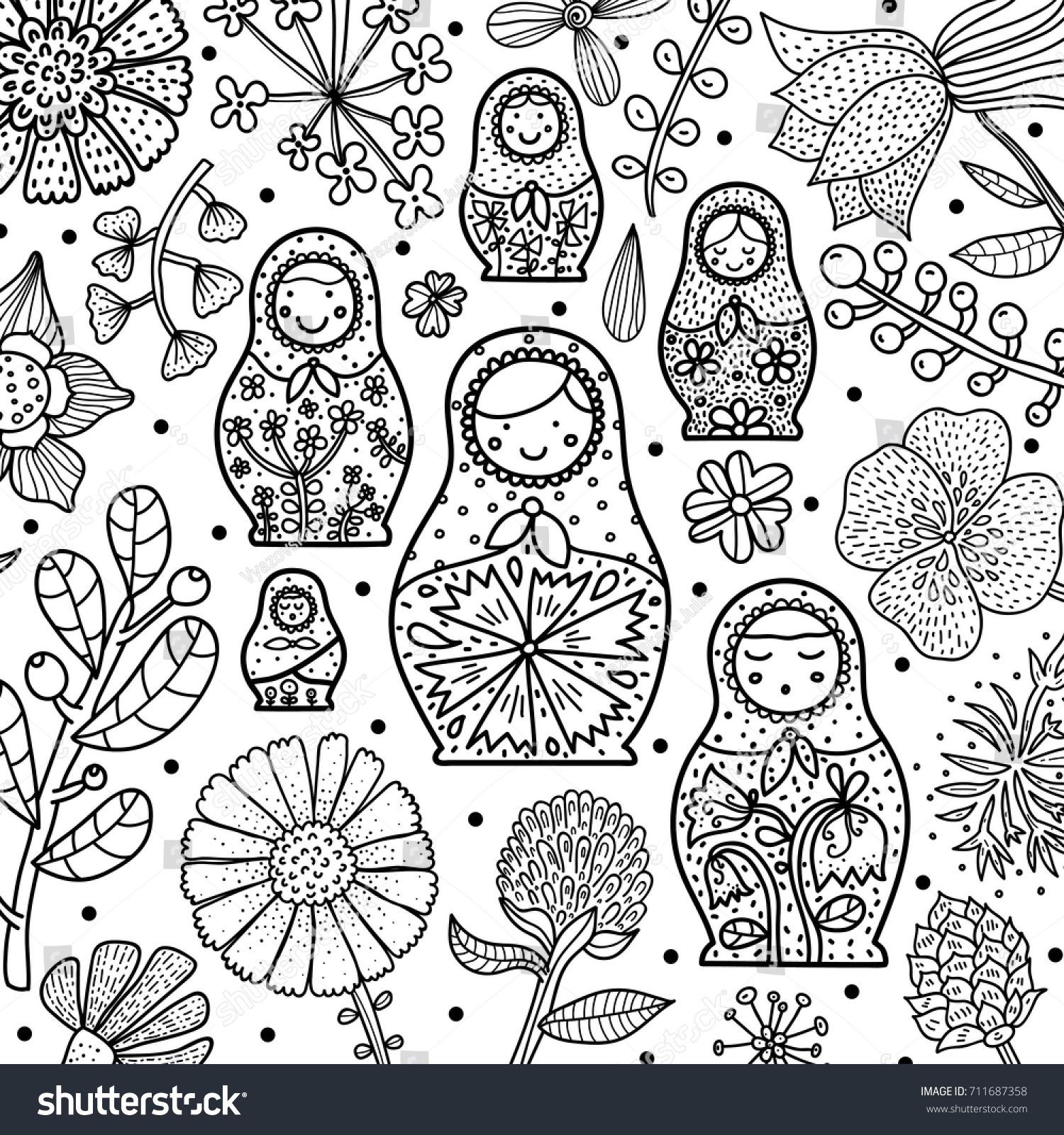 Nesting Dolls Coloring Sheet
