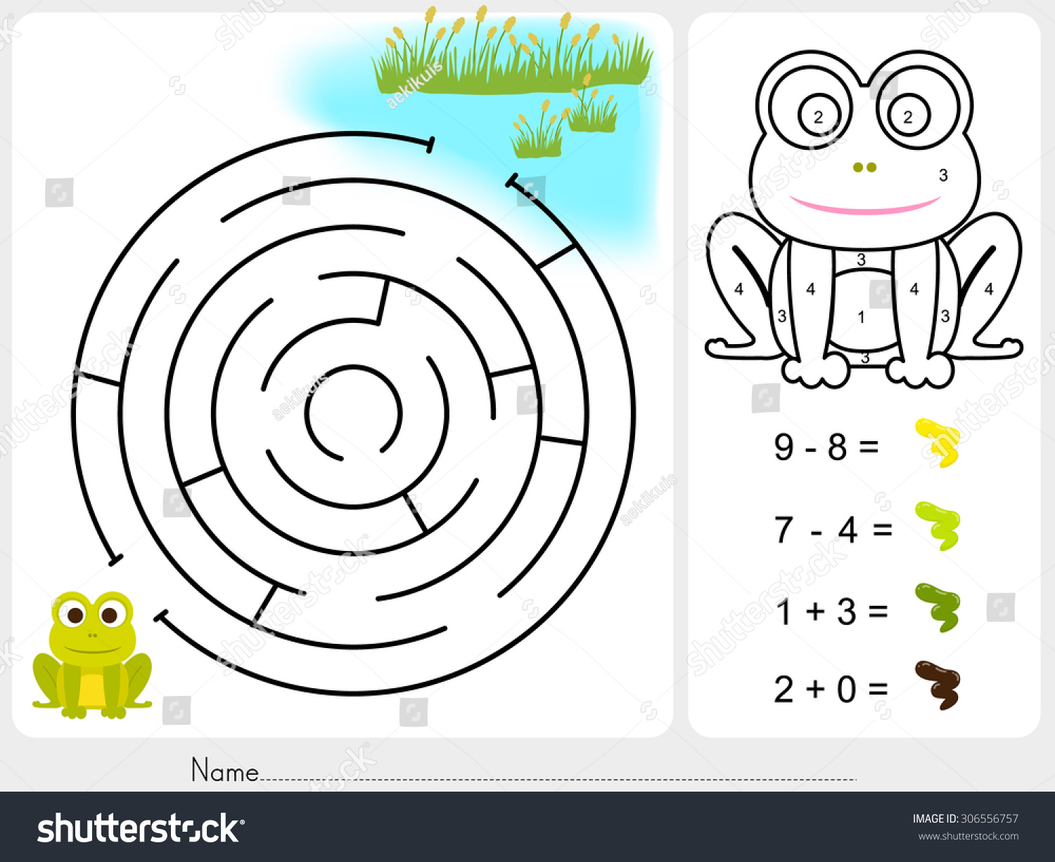 Maze Game And Paint Color By Numbers