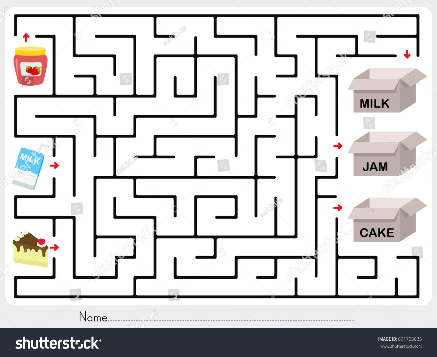 Maze Game Pick Jam Milk Cake Stock Vector