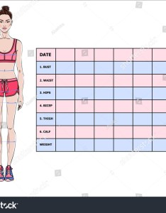 Measurement chart of body parameters for sport and diet effect tracking blank weight loss table also stock vector royalty rh shutterstock