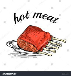 meat hand drawn meat collages illustration of a steak meat vector hand drawn meat elements business lunch bbq ribs barbecued spare ribs [ 1500 x 1600 Pixel ]