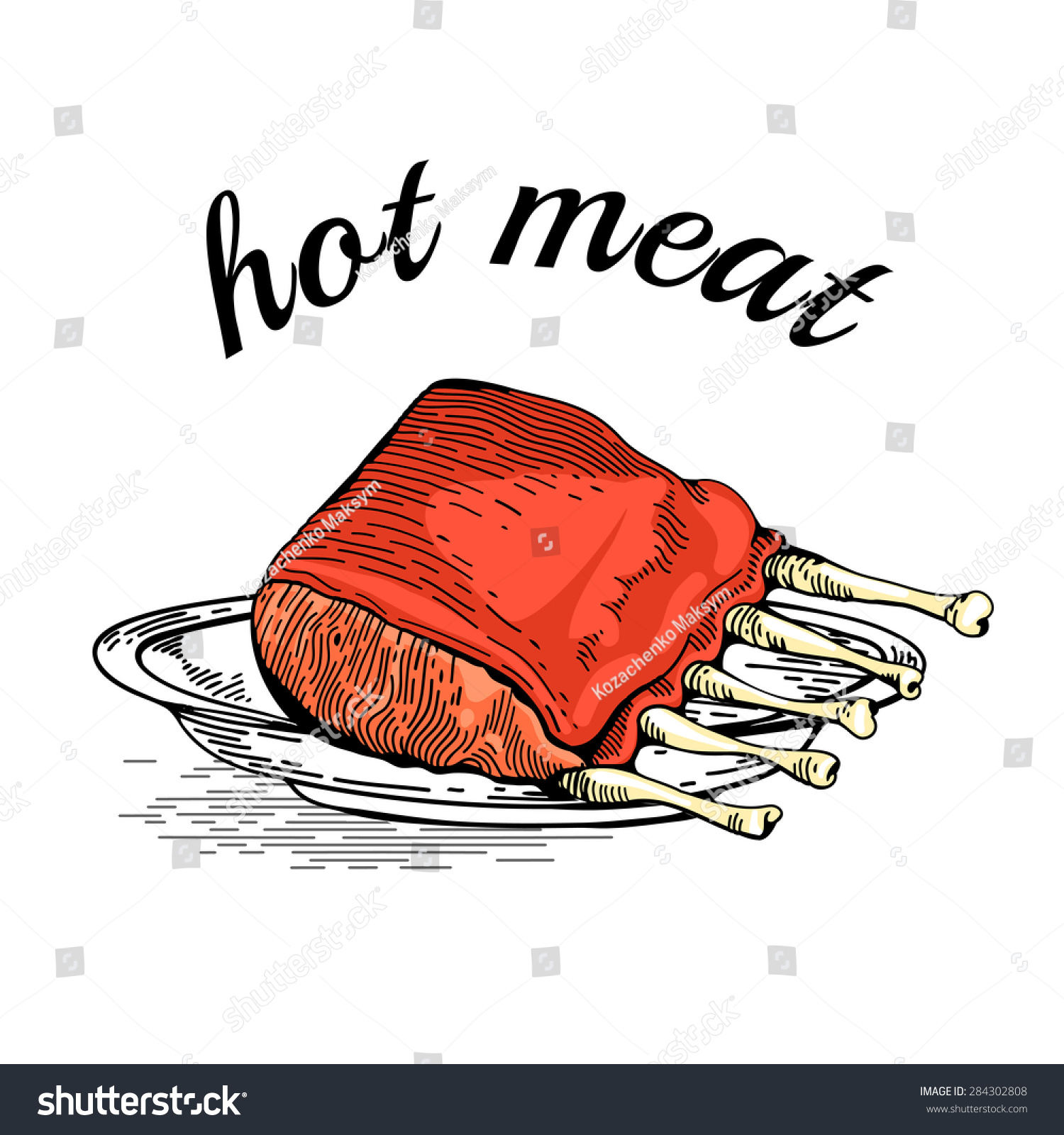 hight resolution of meat hand drawn meat collages illustration of a steak meat vector hand drawn meat elements business lunch bbq ribs barbecued spare ribs