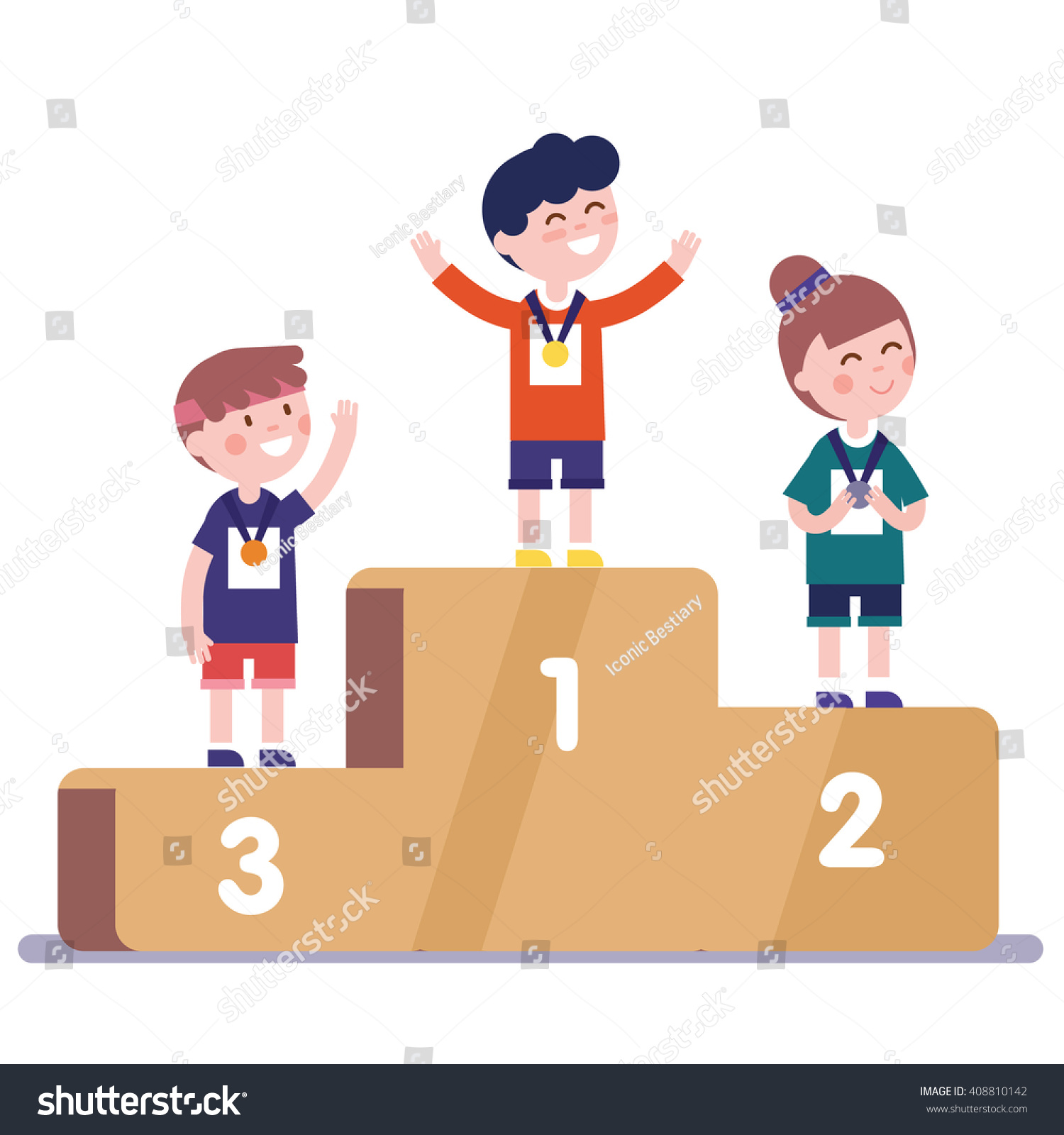 Medalists Kids Standing On Competition Winner Stock Vector