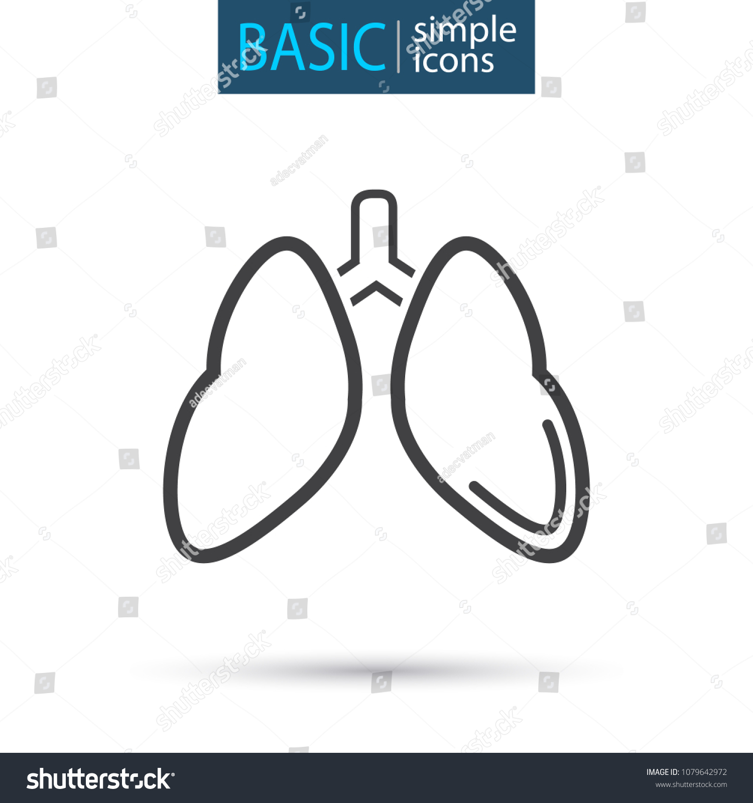 hight resolution of medical lung simple line icon