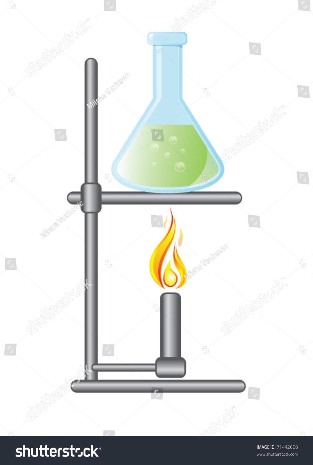 Medical Test Bottle On Bunsen Burner Stock Vector