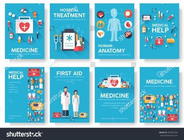 Medicine Information Cards Set. Medical Template Of Flyear
