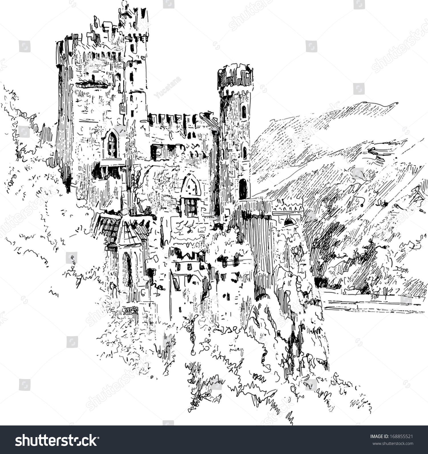 Me Val Castle Graphic Drawing Stock Vector