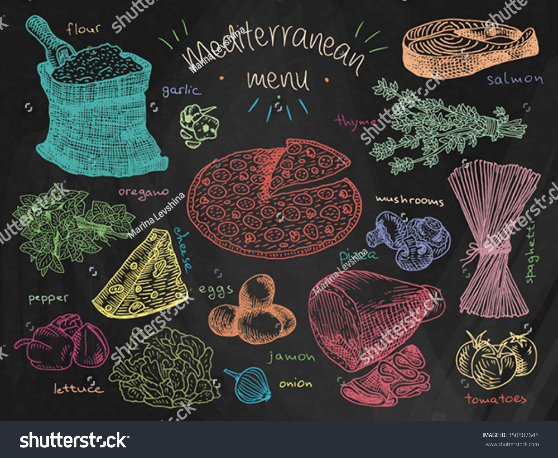 mediterranean menu on chalkboard background flour