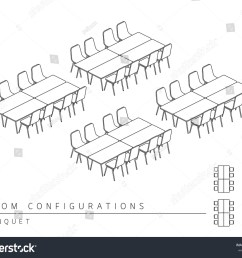 meeting room setup layout configuration banquet style perspective 3d with top view illustration outline black  [ 1500 x 1225 Pixel ]