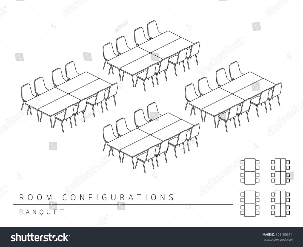medium resolution of meeting room setup layout configuration banquet style perspective 3d with top view illustration outline black