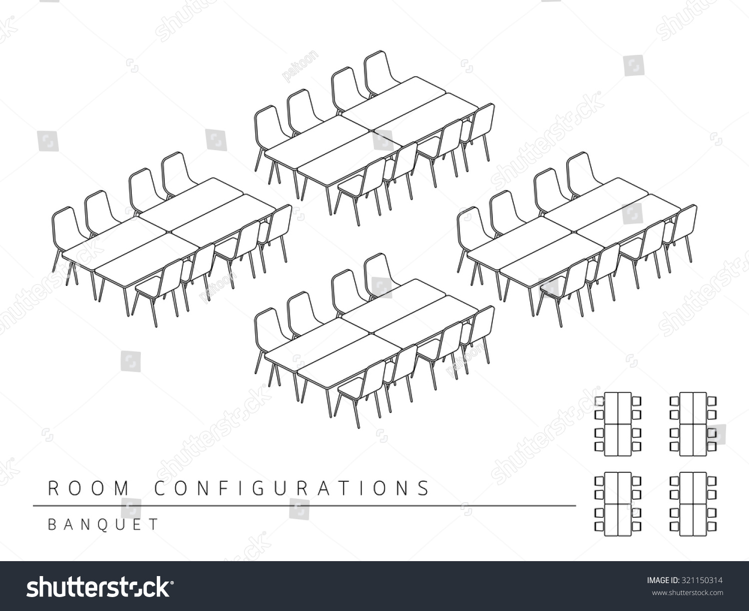 hight resolution of meeting room setup layout configuration banquet style perspective 3d with top view illustration outline black