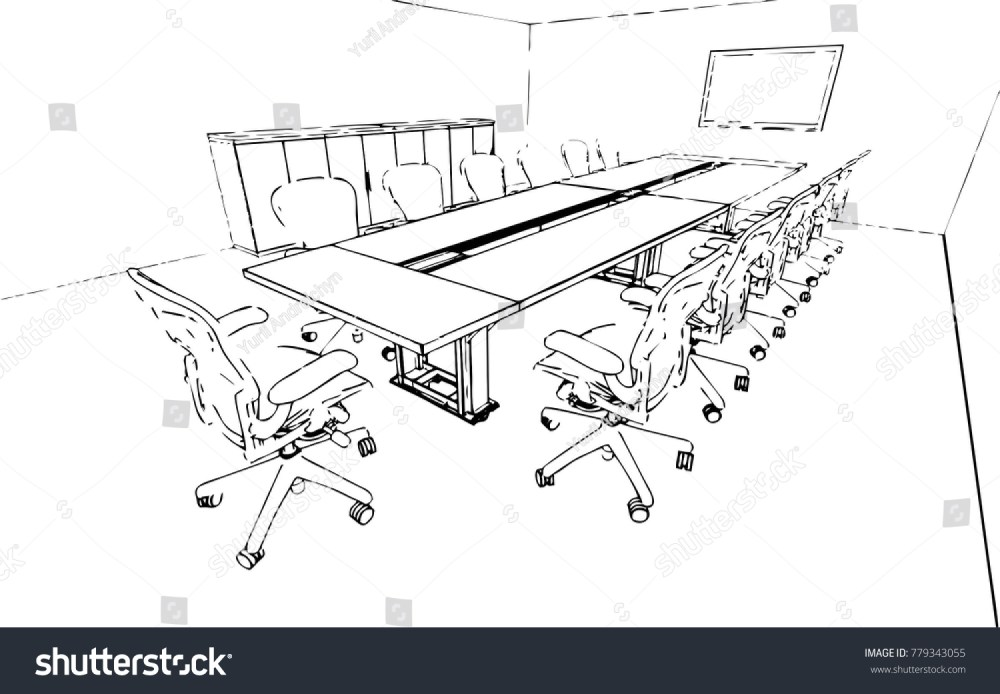 medium resolution of meeting room sketch vector
