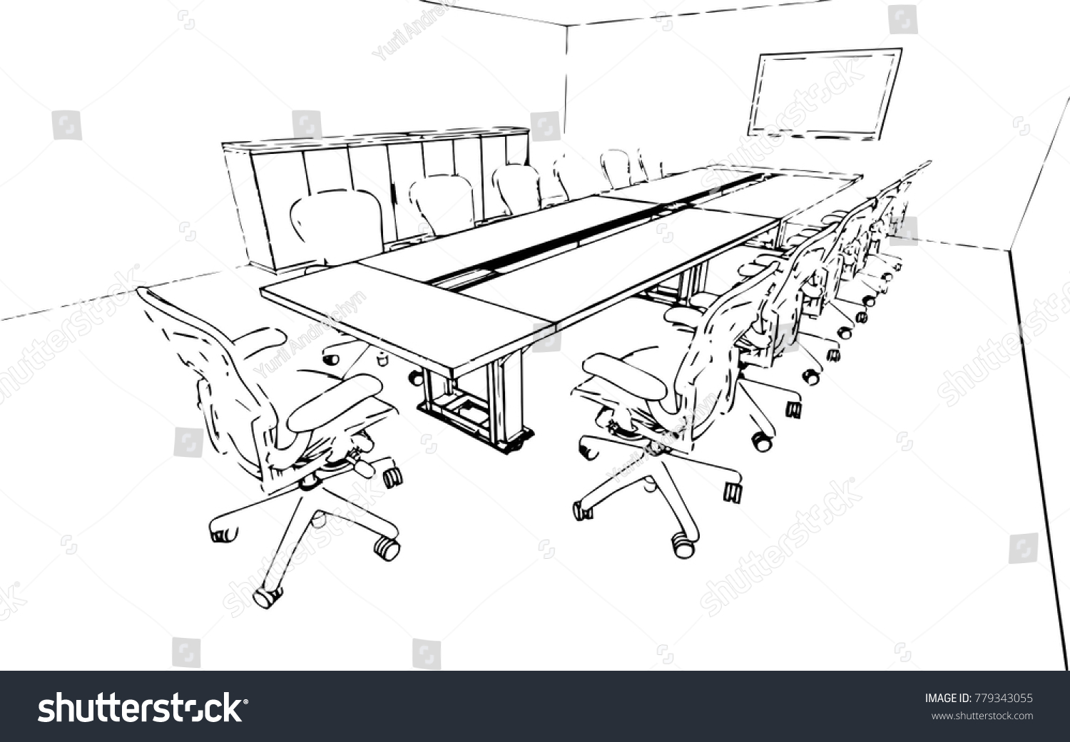 hight resolution of meeting room sketch vector