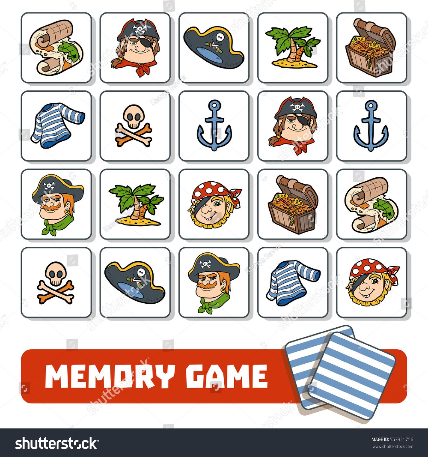 Memory Game Preschool Children Vector Cards Stock Vector