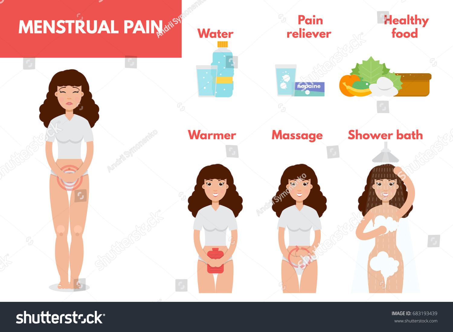 hight resolution of menstrual pain period treatment concept infographic element pms vector illustration