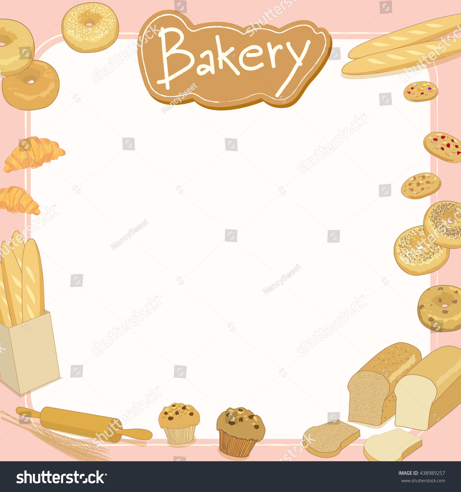 Menu Template Design Vector Illustration.bakery Cafe Shop.blank For Your  Message,text