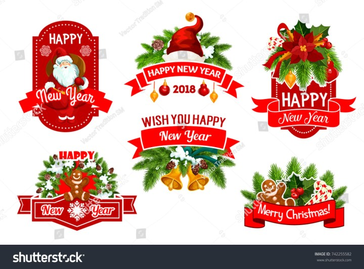 Merry Christmas Happy New Year 2018 Stock Vector 742255582 Comp Congratulation Card With Numbers On Winter Holiday