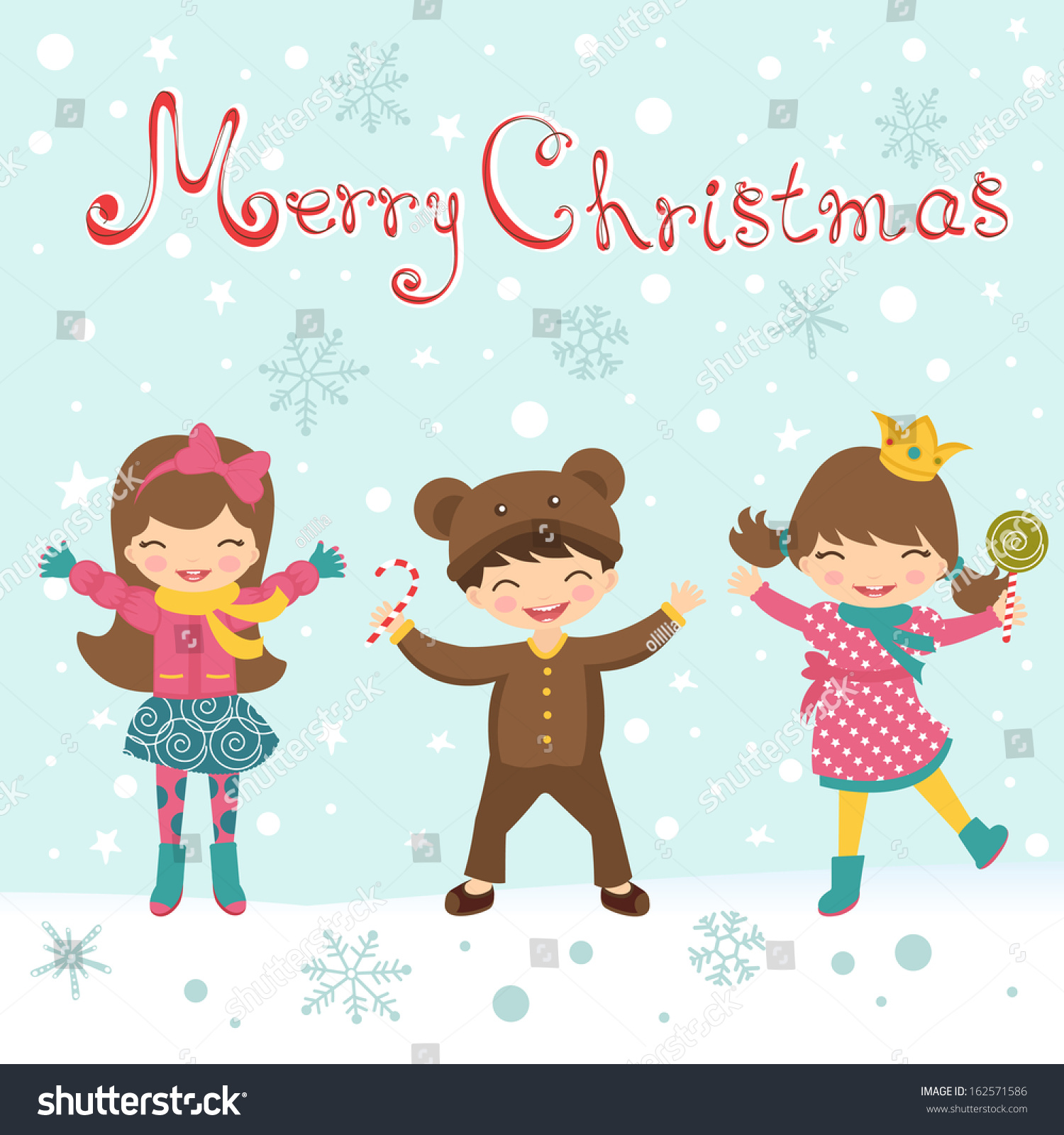 Merry Christmas Card With Happy Kids Stock Vector