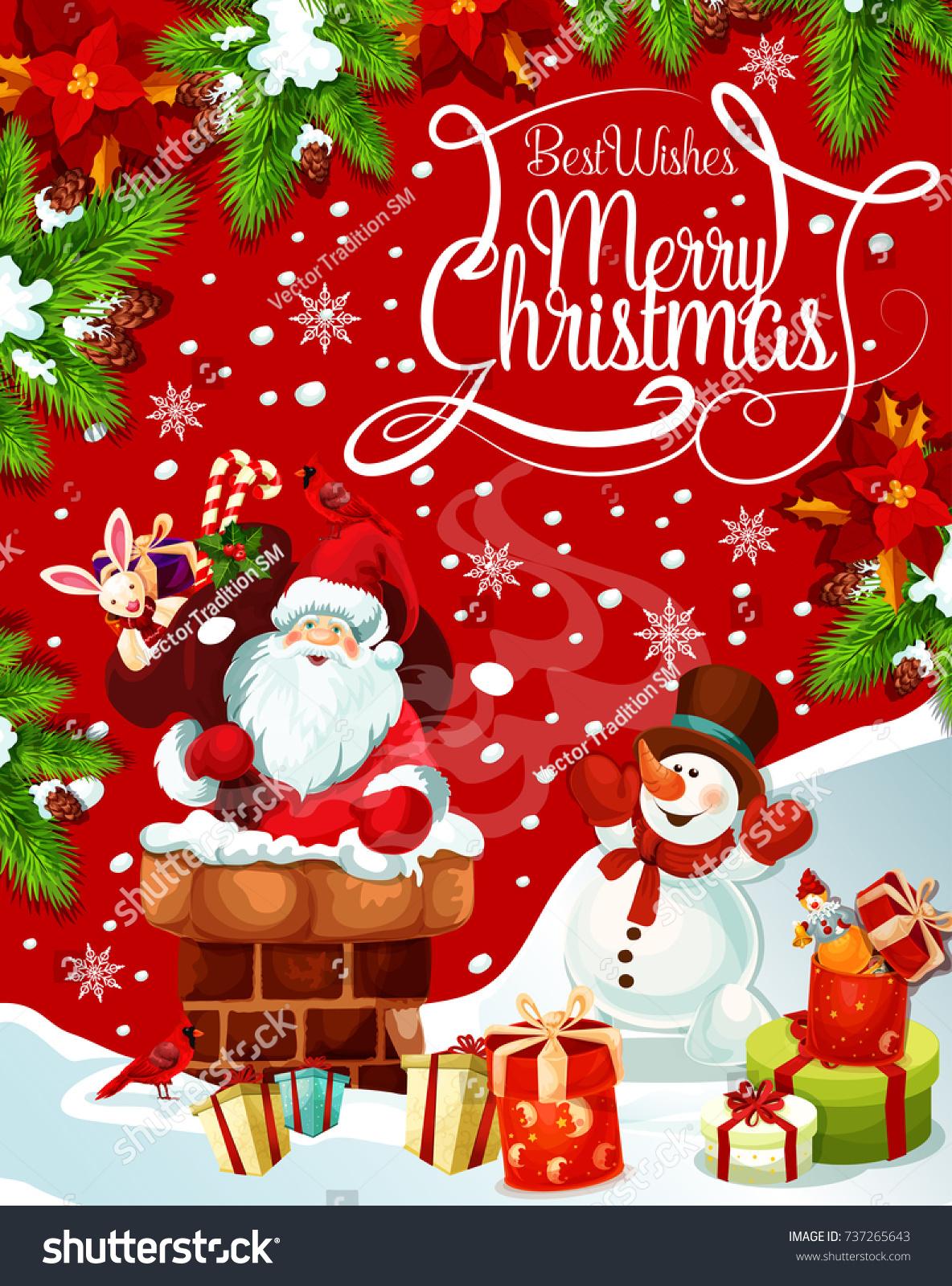 Merry Christmas Greeting Card Santa Chimney Stock Vector