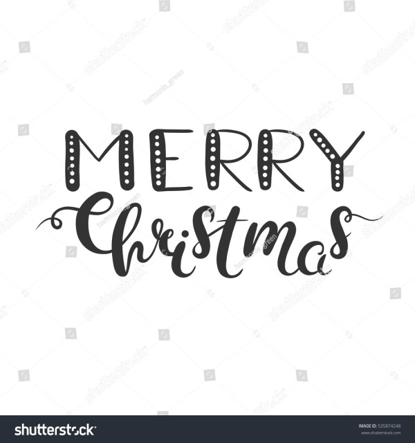 merry christmas lettering isolated