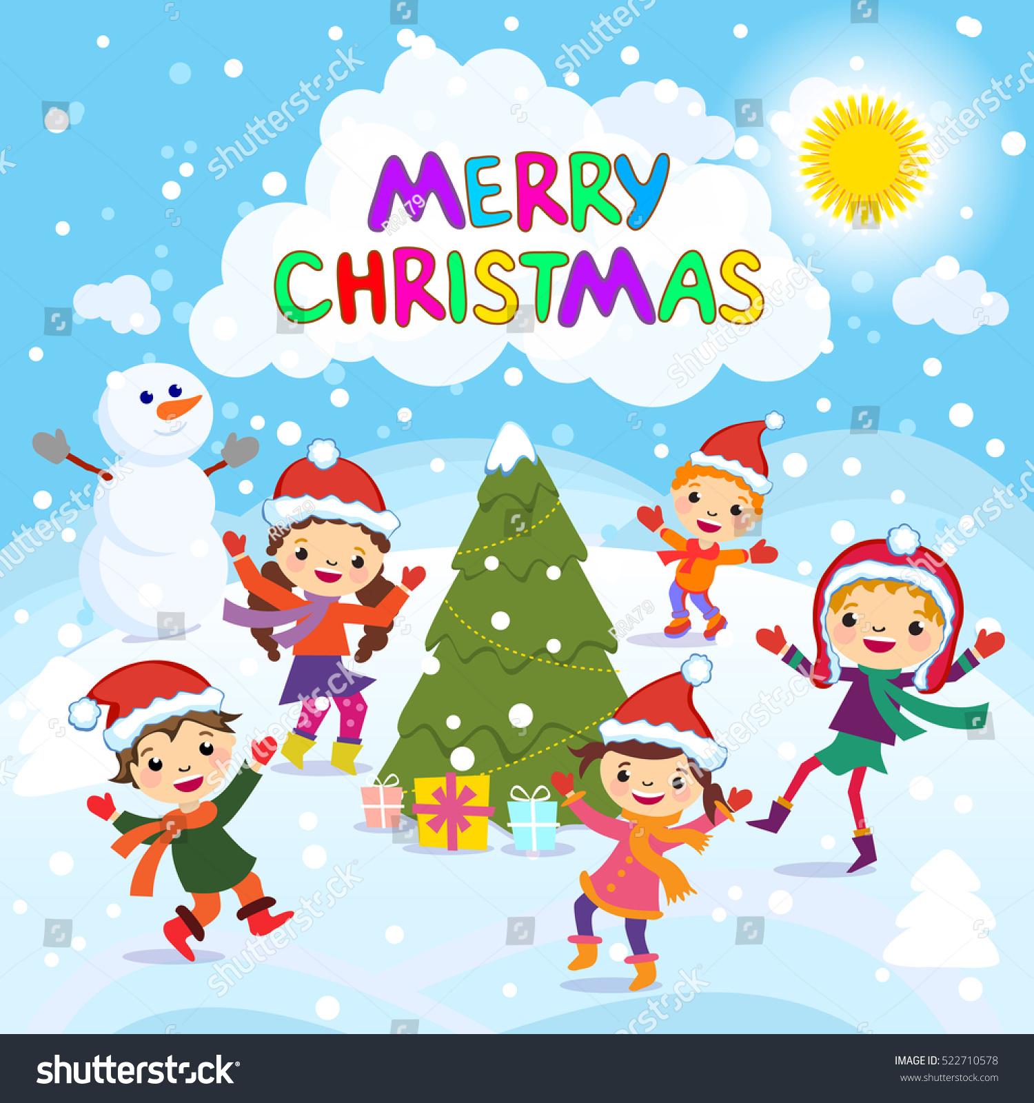 Merry Christmas Winter Fun Cheerful Stock Vector