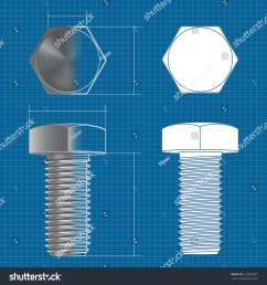 metal hex bolt vector 3d illustration and flat white icon on blueprint background [ 1500 x 1600 Pixel ]
