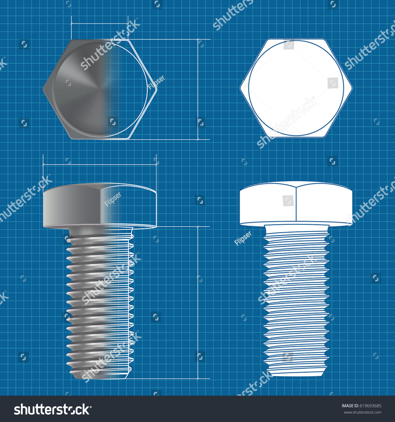 hight resolution of metal hex bolt vector 3d illustration and flat white icon on blueprint background