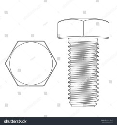 metal hex bolt white outline icon vector illustration isolated on white background [ 1500 x 1600 Pixel ]