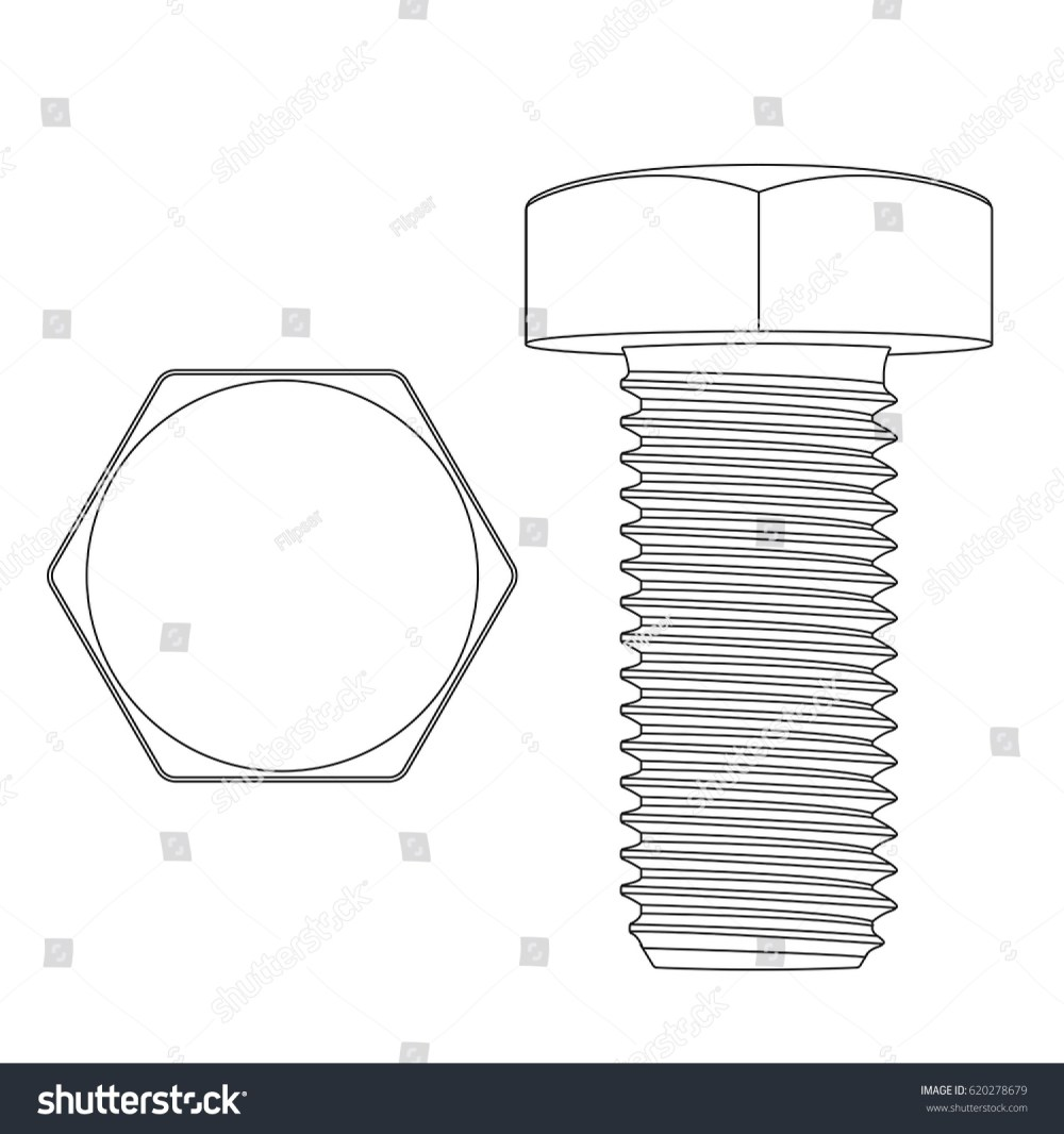 medium resolution of metal hex bolt white outline icon vector illustration isolated on white background