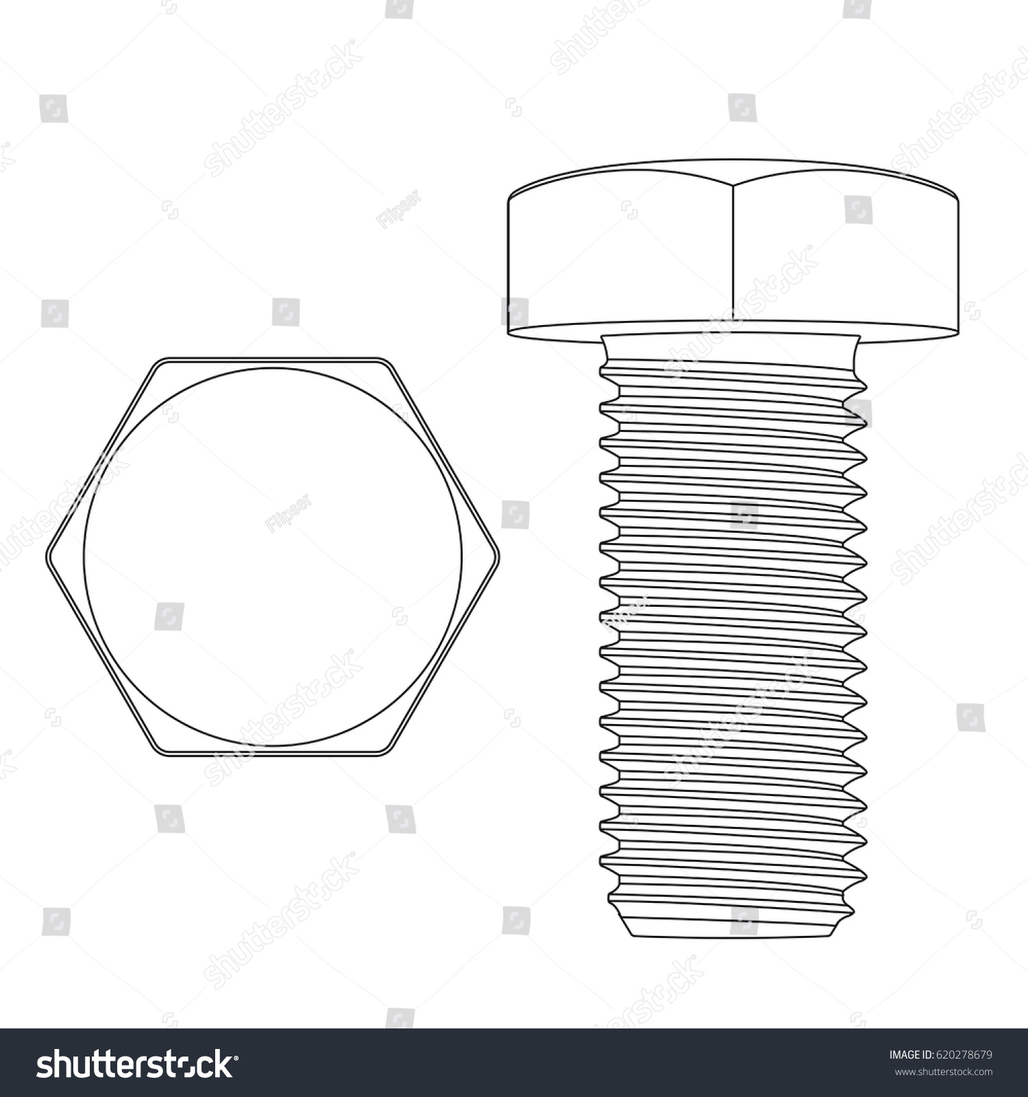 hight resolution of metal hex bolt white outline icon vector illustration isolated on white background