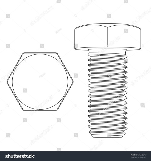 small resolution of metal hex bolt white outline icon vector illustration isolated on white background