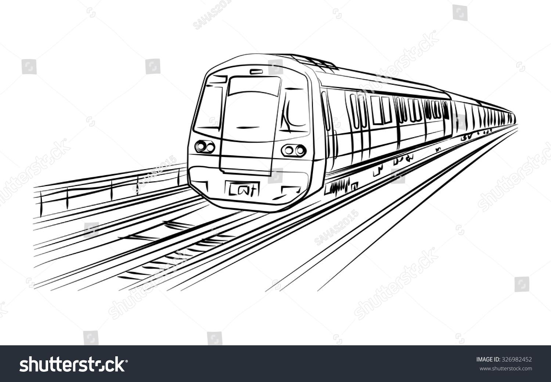 Metro Train Vector Sketch Black Lines Stock Vector
