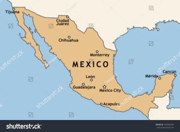 Mexico Map Major Mexican Cities Mexico Stock Vector